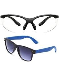New Stylish UV Protected Combo Pack Of Sunglasses For Women / Girl ( ClearNightVision-RoyalblueWayfarer ) ( CM-SUN...