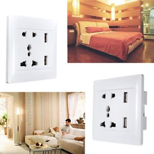 Banggood Dual USB Port Wall AC Power Socket Charger Station Outlet Adapter Plate