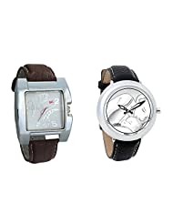 Gledati Men's White Dial & Foster's Women's White Dial Analog Watch Combo_ADCOMB0002277