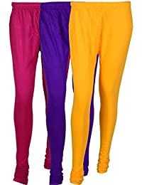 Cotton Leggings (Culture The Dignity Women's Cotton Leggings Combo Of 3_CTDCL_P1VY_PURPLE-VIOLET-YELLOW_FREESIZE)