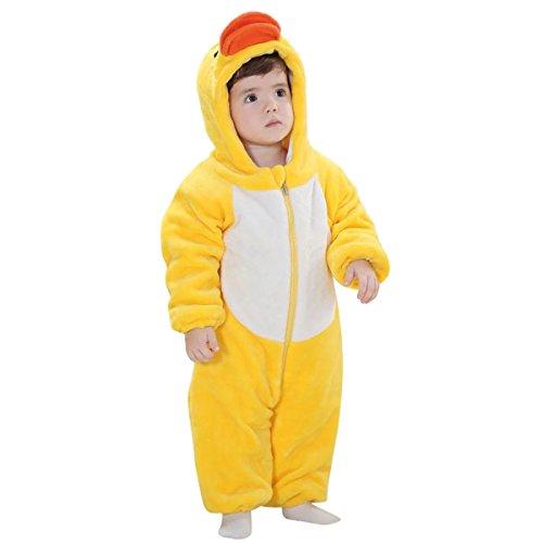 Baby Newborn Zip Front Hoodie One-Piece Bunting Jumpsuit Yellow Duck Size 80