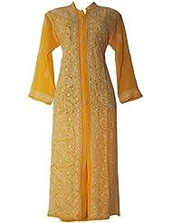 Lucknowi ChikanKari Light Yellow Aline Panelled Style Kuri With Resham Thread Hand Work On Georgette Fabric.
