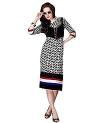 Shonaya Black & White Color Printed Cotton Stitch Kurti
