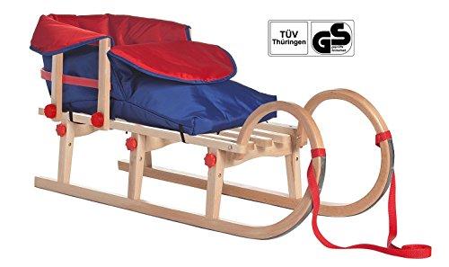 Impag® Klappschlitten mit Zuggurt Lehne Rot und rot / blauem Fußsack Tatry 115 cm