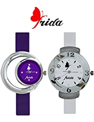 Frida New Latest Beautiful Designer Branded Multi Color PU Belt Analog Awesome Looks Best Offer In Deal Casual... - B01IBJNXYQ