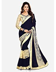 Top & Best Ladies Party Wear Black Georgette & Brasso Saree For Women & Girls With Fancy Blouse