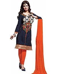 Aryan Fashion Designer Dark Grey Cotton Embroidered Semi-Stitched Salwar Suit For Women & Girls Party Wear For...