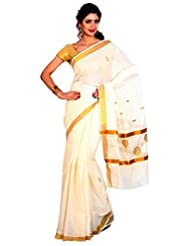 FASHIONKIOSKS CREAM COTTON KERALA KASAVU SAREE WITH PALLU WORK AND BLOUSE
