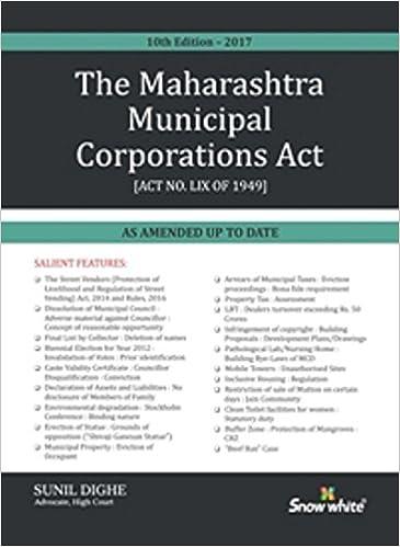 Maharashtra Municipal Corporations Act - 2017 Edition Book by Sunil Dighe