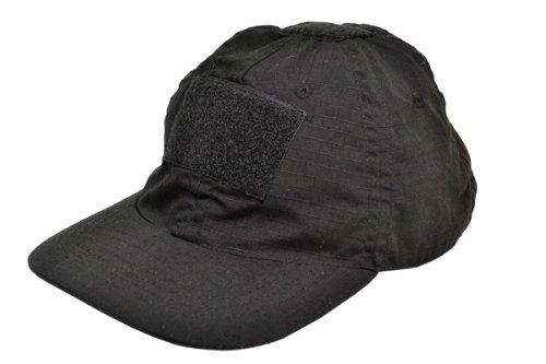 SW製 ベルクロ付 ベースボールキャップ リップストップ生地使用 ミリタリーキャップ ブラック 黒 黒色