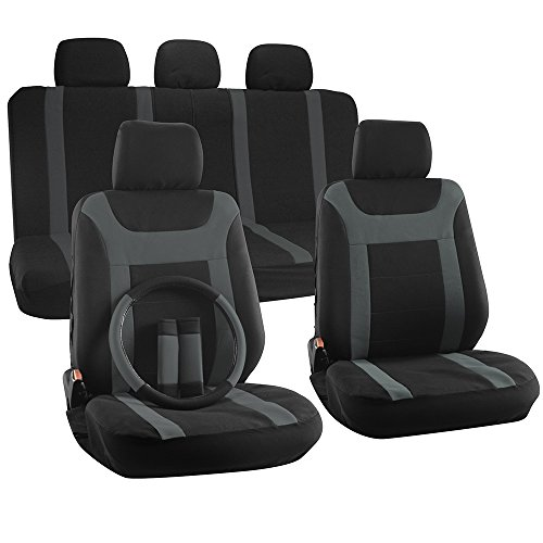 OxGord 17pc Set Flat Cloth Mesh Gray & Black Y Stripe Seat Covers Set – Airbag Compatible – Front Low Back Buckets – 50/50 or 60/40 Rear Split Bench – 5 Head Rests – Universal Fit for Car, Truck, Suv, or Van – FREE Steering Wheel Cover