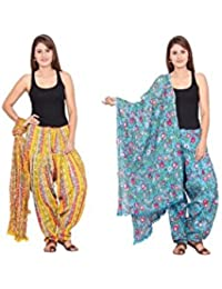 Rama Set Of 2 Printed Sky Blue & Yellow Colour Cotton Full Patiala With Dupatta Set