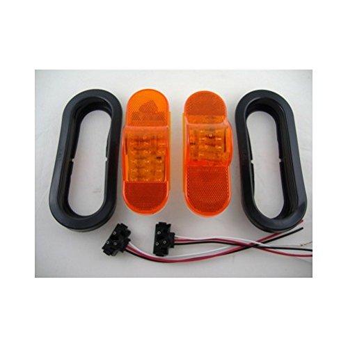 Amber 18 LED 6″ Oval Truck Semi Trailer Mid Turn Signal Marker Light Kits