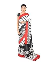 Ctc Mall White & Black Printed Satin Saree