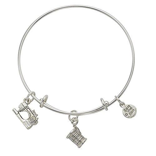 Sam and Nan Spool Thread Sewing Machine Charm Bangle Bracelet. Sterling Silver Finish. USA Made ...
