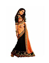Sri Krishna Silks' Black & Peach Puff Embroidered Saree - B00NUVJUMU