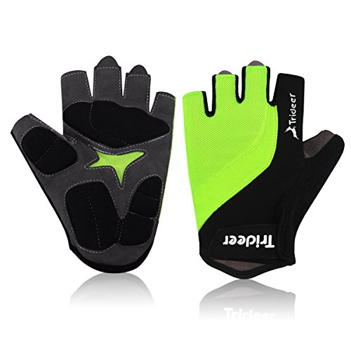 Trideer® Cycling Gloves Riding Gloves Biking Gloves, Mountain Road Bicycle Racing Crossfit Sport Fitness Exercise Gloves – Half Finger/Fingerless Lycra&Silica Gel Grip with Wrist&Strap, for Men&Women