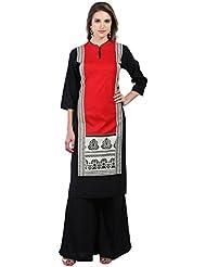 Neerus Red And Black Printed Straight Cut Rayon Kurti