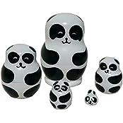 Set Of 5 Cutie Lovely Mini Panda Bear Nesting Dolls Matryoshka Madness Russian Doll Popular Handmade Kids Girl...