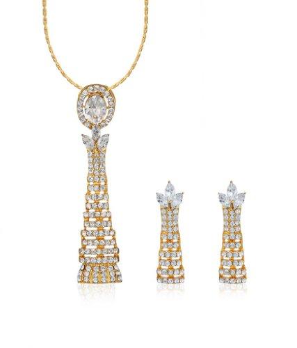 Eclat Rhodium Brass Alloy Pendant Set For Women(811489G)