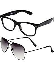 Sheomy Unisex Combo Pack Of Transparent Wayfarer Sunglasses And Half Black Aviator Sunglasses For Men And Women...