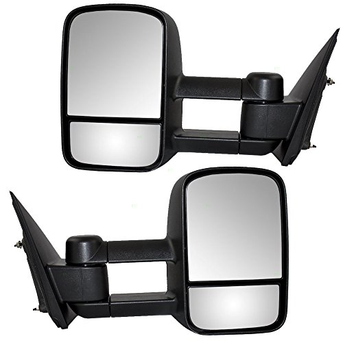 Driver and Passenger Manual Side Tow Mirrors with Telescopic Dual Arms Replacement for Chevrolet GMC Pickup Truck 22820395 22820396