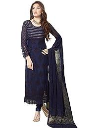 Sancom Navy Blue Party Wear Nazneen Straight Cut Salwar Suit