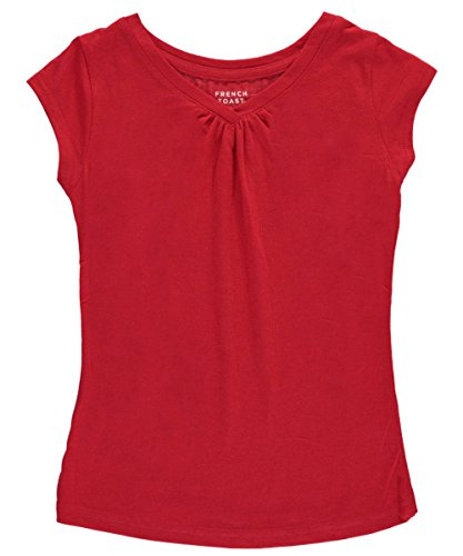French Toast Big Girls' Ruched V-Neck T-Shirt - red, 10 - 12