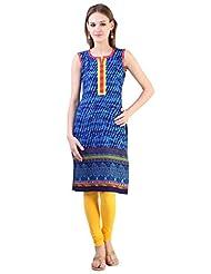 Libas Women's Cotton Printed Straight Sleeveless Kurta - B00WOIFQFK