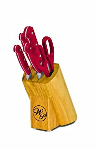 wolfgang puck kitchen knives amazon com wolfgang puck 6 piece cutlery set red block knife sets kitchen dining 2260