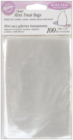 """Clear Mini Treat Bags 100 Piece Set - 6.25"""" x 4"""
