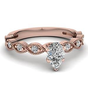 1.15 Ct Pear Shaped SI1-F Color Diamond Braid Design Engagement Ring W Milgrain GIA Certificate # 2145345984