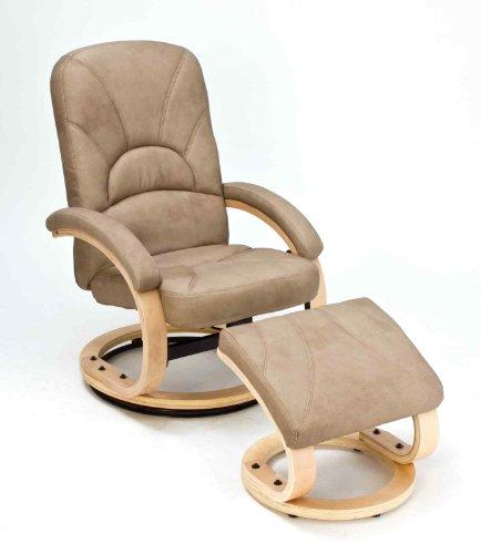 Fernsehsessel Relaxsessel Ledersessel TV Sessel mit Hocker Nubuk-Leder beige ca.68x83x100cm (BxTxH)