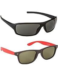New Stylish UV Protected Combo Pack Of Sunglasses For Women / Girl ( BlackWrap-RedWayfarer ) ( CM-SUN-030 )