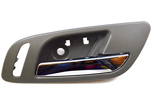 PT Auto Warehouse GM-2546MG-FR – Inside Interior Inner Door Handle, Gray (Titanium) Housing with Chrome Lever – with Heated Seat Hole, Passenger Side Front