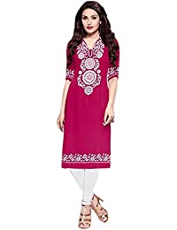 Vipul Bollywood Designer Women's Branded PINK & WHITE Casual Wear Printed Polyester XL Size Kurti ( Best Gift...