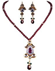 Gehna Ruby Studded Pendant & Earring Set With Ruby Color Bead & Silver Elements