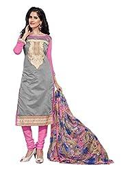 Women's Grey & Pink Embroidered Chanderi Semi Stitched Salwar Suit