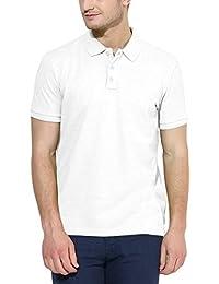 Polo Nation Men White Solid Cotton Polo T-Shirt