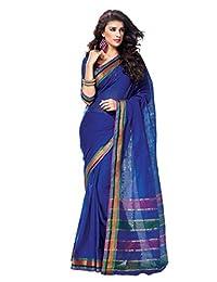 Indian Designer Blue Ethnic Saree Lace Border Work Cotton Sari
