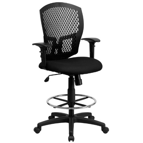 Flash Furniture Mid Back Drafting Chair Arms in Black