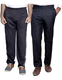 Indistar Mens Formal Trousers With Men's Premium Cotton Lower (Length Size -38) With 1 Zipper Pocket And 1 Open Pocket (Pack Of -1 Lower With 1 Trouser) - B01GEIPV5A