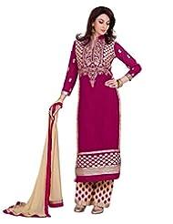Lookslady Embroidered Magenta Pure Georgette Zari Work Semi Stitched Salwar Suit