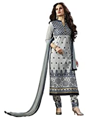 Grey Pure Cotton Straight Unstitched Suit With Grey Dupatta