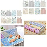 First Step New Born Baby Gift Pack Jhabla 8 Pcs And 4 Plastic Changing Sheet With One Sided Cloth(Assorted)(0-...