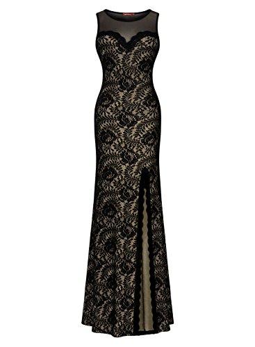 Women's Sleeveless Long Black Lace Split Side Evening Formal Dress