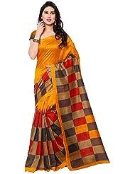 Winza Women's Cotton Silk Printed Saree (Bhagalpuri Black Print_multicolor)