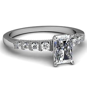 1.40 Ct Radiant Cut Diamond & Elegant Round Side Stones Milgrain Engagement Ring GIA Certificate # 2151217474