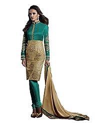 Stylish Fashion Designer Sky Embroidered Heavy Indo Western Salwar Suit