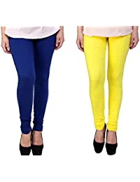 Snoogg Womens Ethnic Chic Inspired Churidar Leggings In Yellow And Blue